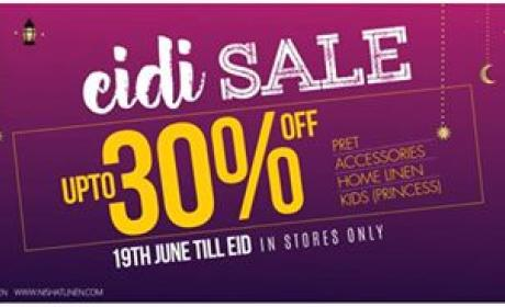 Up to 30% Sale at Nishat Linen, June 2017
