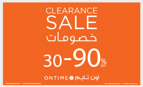 30% - 90% Sale at ONTIME, August 2018