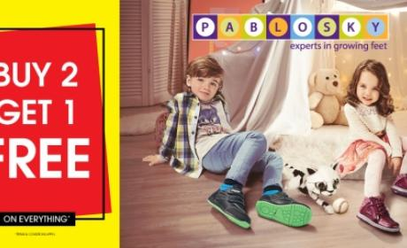 Buy 2 and get 1 Offer at Pablosky, October 2017
