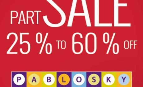 25% - 60% Sale at Pablosky, January 2018