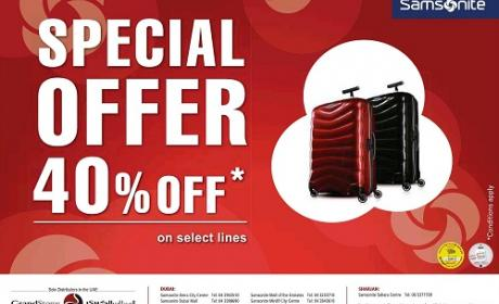 Up to 40% Sale at Samsonite, August 2016