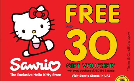 Spend 150 and receive a FREE AED 30 Gift Voucher Offer at Sanrio, November 2014