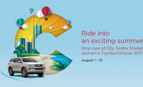 """Spend 299 and get the chance to grab the keys and drive off in a Brand-New car  """" Toyota Fortuner 2017 """" Offer at Sharjah City Centre, August 2017"""