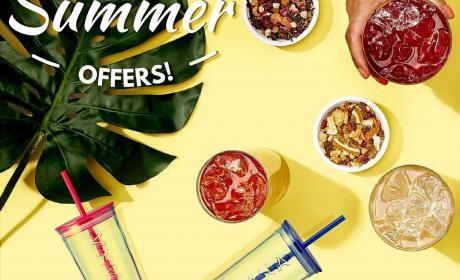Spend 180 and get a beverage Offer at Teavana, July 2017