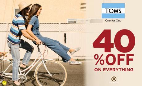 Up to 40% Sale at Toms Shoes, May 2018