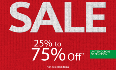 25% - 75% Sale at United Colors Of Benetton, February 2016