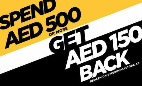 Spend 500 And get AED 150 back Offer at Virgin Megastore, May 2018
