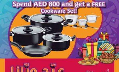Spend 800 and  get a free Cookware Set Offer at Aswaaq, June 2017