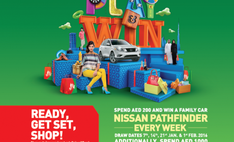 Spend 200 get a chance to win a brand new Nissan Pathfinder EVERY WEEK! Offer at Burjuman, February 2016