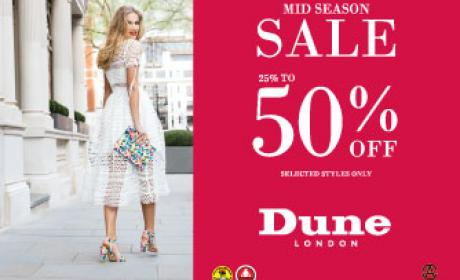 Up to 50% Sale at Dune, April 2016