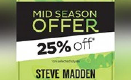 25% Sale at Steve Madden, November 2015