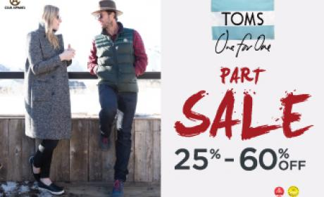 25% - 60% Sale at Toms Shoes, January 2016