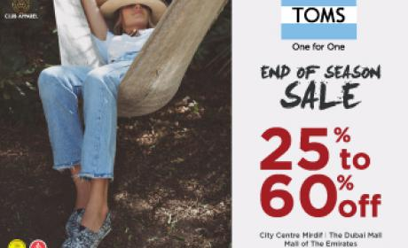 25% - 60% Sale at Toms Shoes, August 2016